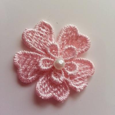Fleur en dentelle 45mm peche
