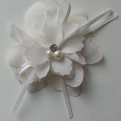 fleur en tissu mousseline et tulle pailleté blanche strass et perle 80mm