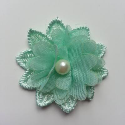 Fleur en dentelle et fleur en mousseline 45 mm vert pastel