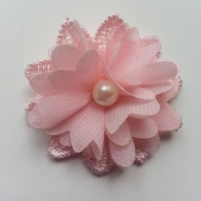 Fleur en dentelle et fleur en mousseline 45 mm peche