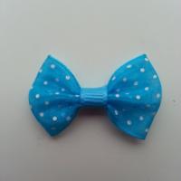 Noeud en voile à pois 35*25mm bleu turquoise