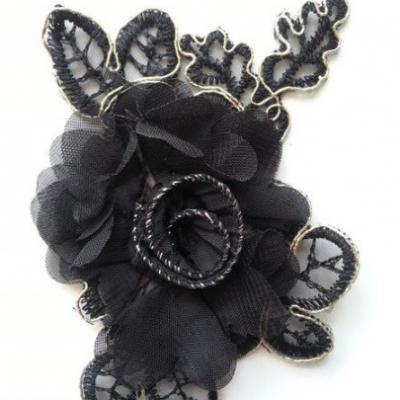Applique fleur en dentelle  et mousseline 12*8cm noir