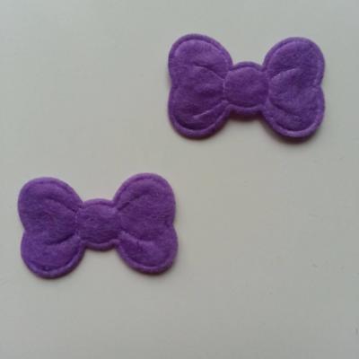 Lot de 2 appliques noeuds feutrine   28*18mm violet