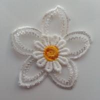 Double fleur en dentelle   50mm blanche et jaune