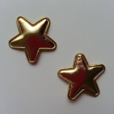 Lot de 2 appliques étoiles matelassées 25*25 mm doré or
