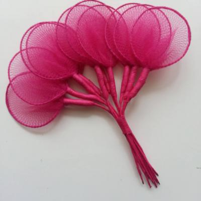 Lot de 10 raquettes en collant sur tige pour dragées ou fleurs en nylon rose fuchsia
