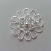 fleur en dentelle blanc ivoire 50 mm