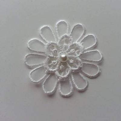 fleur en dentelle blanc ivoire 50 mm (2)