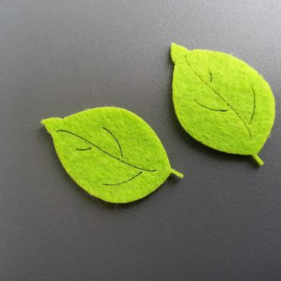 Lot de 2 feuilles en feutrine   4.5cm *3cm vert clair