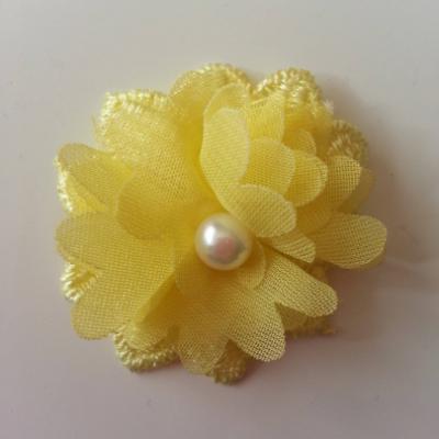 Fleur en dentelle et fleur en mousseline 45 mm jaune