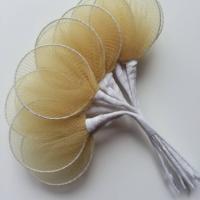 Lot de 10 raquettes en collant sur tige pour dragées ou fleurs en nylon beige