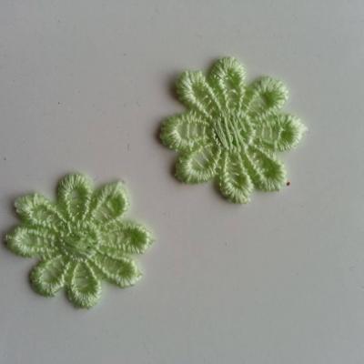 Lot de 2 fleurs en dentelle   30mm vert
