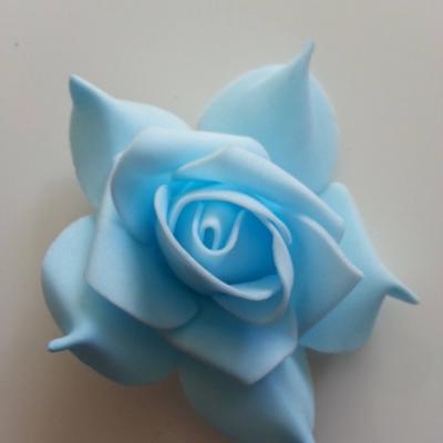 tête de rose en mousse  70mm bleu ciel