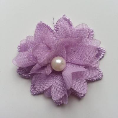 Fleur en dentelle et fleur en mousseline 45 mm mauve