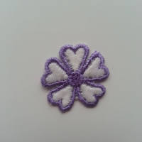 Fleur en dentelle bicolore  30mm blanc et violet
