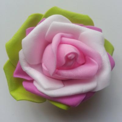 Tête de rose en mousse multicolore   70mm vert rose et blanc