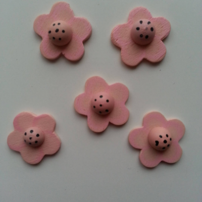 Lot de 10 fleurs en bois rose 20mm