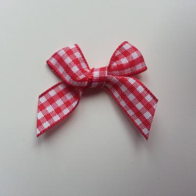 Noeud tissu à carreaux blanc et rouge   40*30 mm