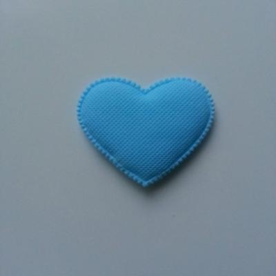 Coeur en feutre matelassé  épaisseur 1mm  32*32mm bleu