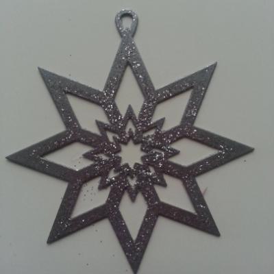 flocon, Etoile de noel en métal gris argenté 80mm (1)