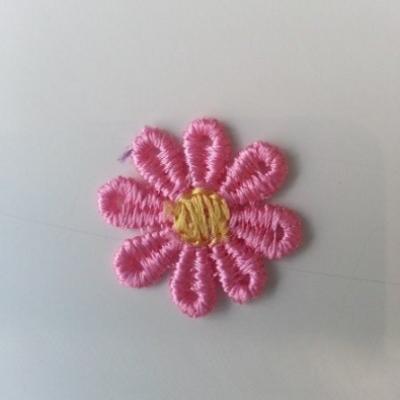 Fleur en dentelle bicolore  30mm rose et jaune