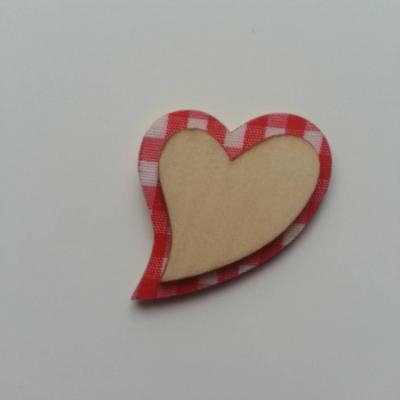 coeur en bois  fond rouge et blanc 35*45mm
