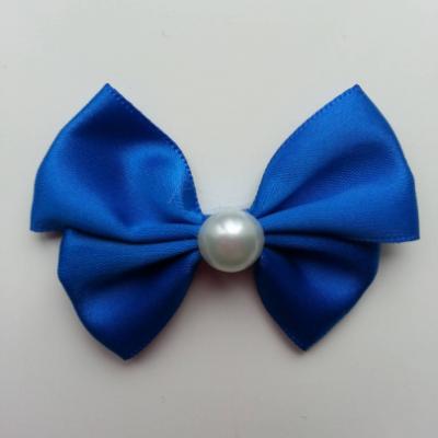 Noeud en satin  et demi perle blanche 42*55mm bleu