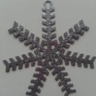 flocon, Etoile de noel en métal gris argenté 80mm (3)