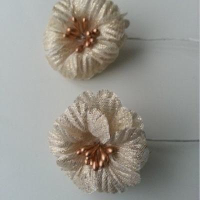 lot de 2 fleurs en tissu doré, or 45mm sur tige