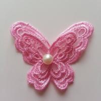 Double papillon en dentelle  65mm rose