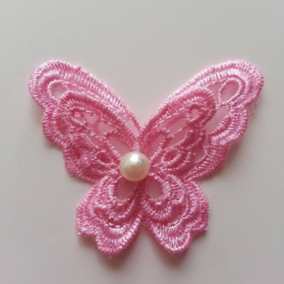 Double papillon en dentelle  65mm rose