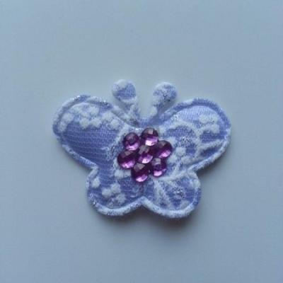 Applique  papillon strass  40*35mm mauve